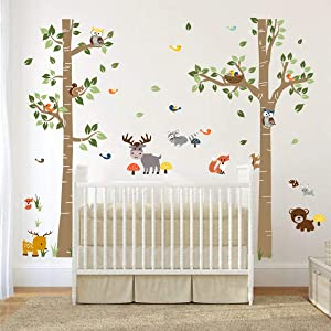 decalmile Forest Animals Birch Tree Wall Decals Deer Owl Fox Wall Stickers Baby Nursery Kids Bedroom Playroom Wall Decor (H: 62 Inches)