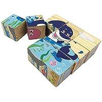 Holzsammlung 9adet ahşap Cube blok Puzzle–Marine Life Muster Blocks Puzzle çocuklar için 1yıl ve kadar–-çocuklar için mükemmel Noel hediyesi
