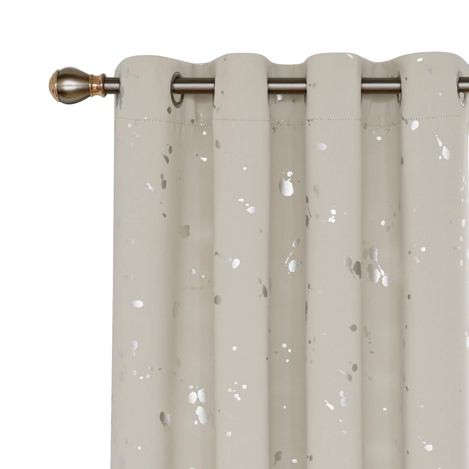 Deconovo Silver Dots Printed Blackout Curtains Grommet Curtains Room Darkening Cream Curtains for Kids Room Cream 52W x 95L 2 Panels