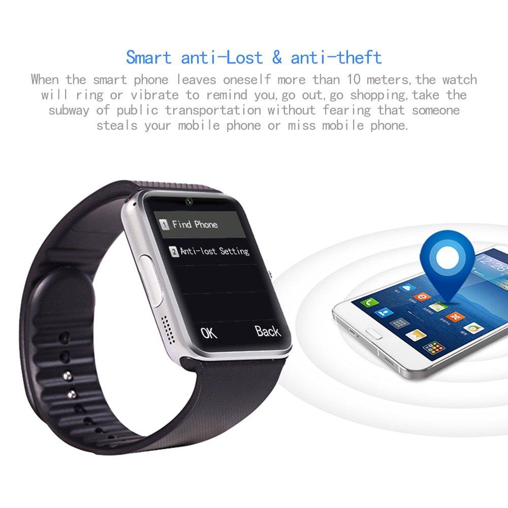 Bluetooth reloj inteligente pantalla táctil con cámara, reloj de pulsera, desbloqueado reloj teléfono móvil inteligente con ranura para tarjeta SIM, ...