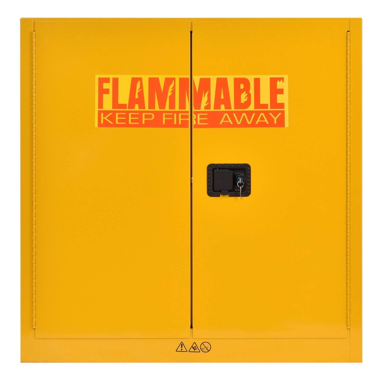 "Sandusky Lee SC300F Yellow Steel Safety Cabinet for Flammable Liquids, 1 Shelf, 2 Door Manual Close, 30 Gallon Capacity, 44"" Height, 43"" Width, 18"" Depth"