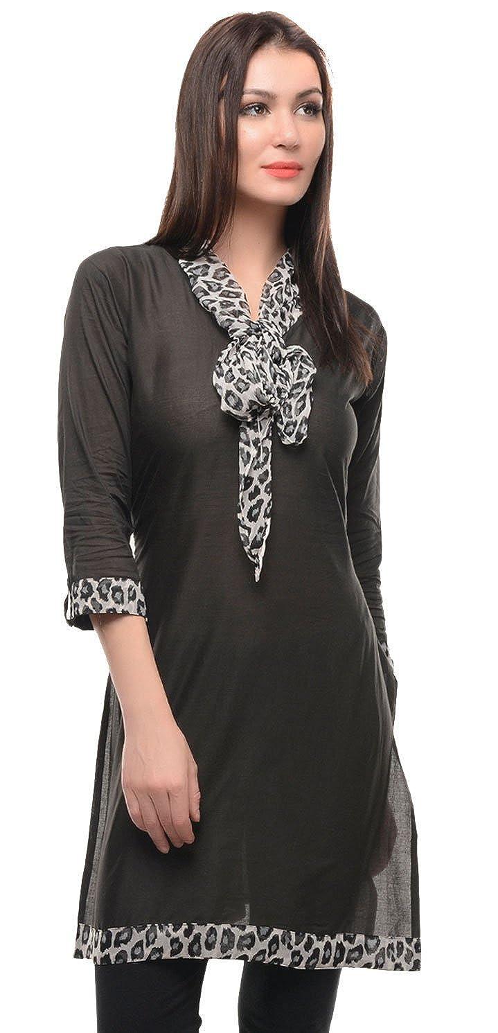 Maple Clothing Indian Black Cotton Kurti Tunic Top Womens Dress M) lngkctn-321-km-blk-m36