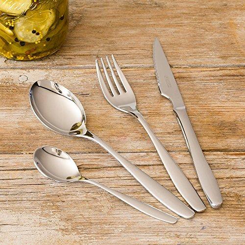 Monix Zurich - Set de cubiertos 75 piezas, cubiertos de acero inox 18/10 con cuchillo chuletero y estuche estilo Nogal: Amazon.es: Hogar