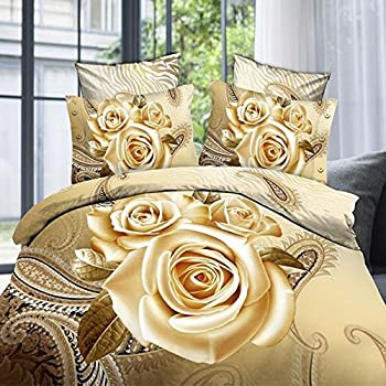 Amazon.com: Alicemall 3D Flower Bedding Set King Size Big Red Rose ...