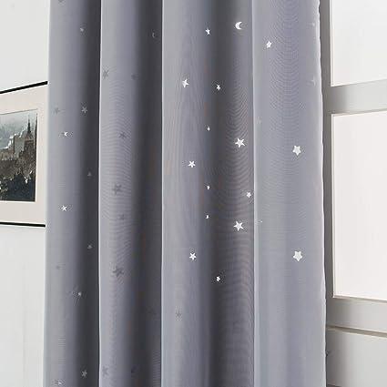 galapara double rideaux enfants rideau oeillets draperies d etoile panneaux double couche combinaison de fil de tissu combinaison avec formes