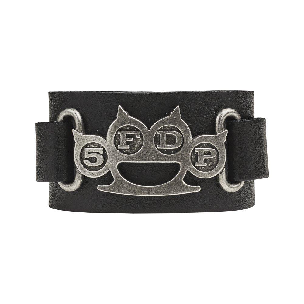 Five Finger Death Punch Knuckleduster Logo Leather Wriststrap