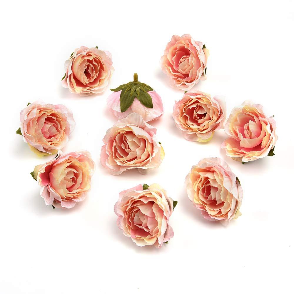 フェイクフラワーヘッド バルク卸売 工芸 牡丹の花 シルク造花 結婚式の装飾 DIY パーティー フェスティバル ホームデコレーション 花輪 装飾 25ピース 4.5cm ピンク fake flower heads B07H2S46HD ピンク