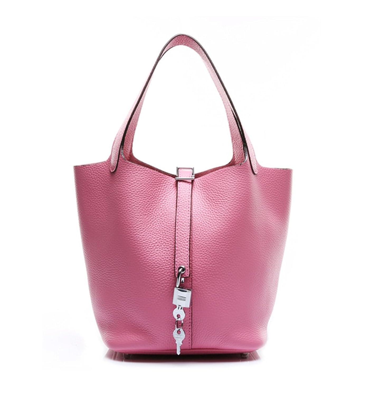 Ainifeel Women's Genuine Leather Top Handle Handbag With Padlock Casual Purse