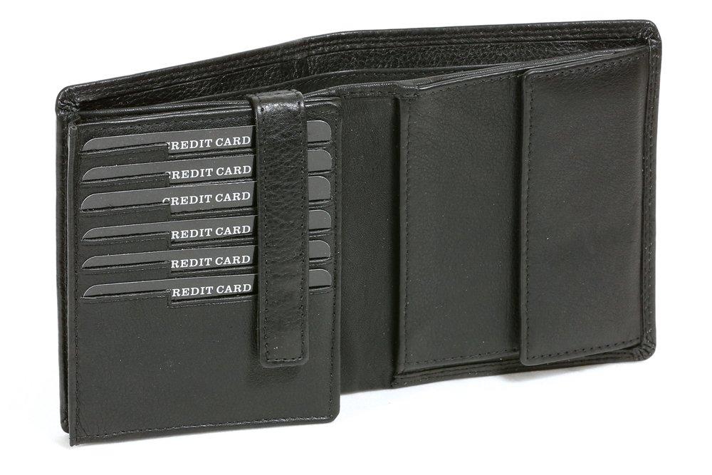 LEAS Kombibörse im Hochformat mit Klappe für viele Karten Echt-Leder, schwarz Escalera-Edition LE8601-22-01