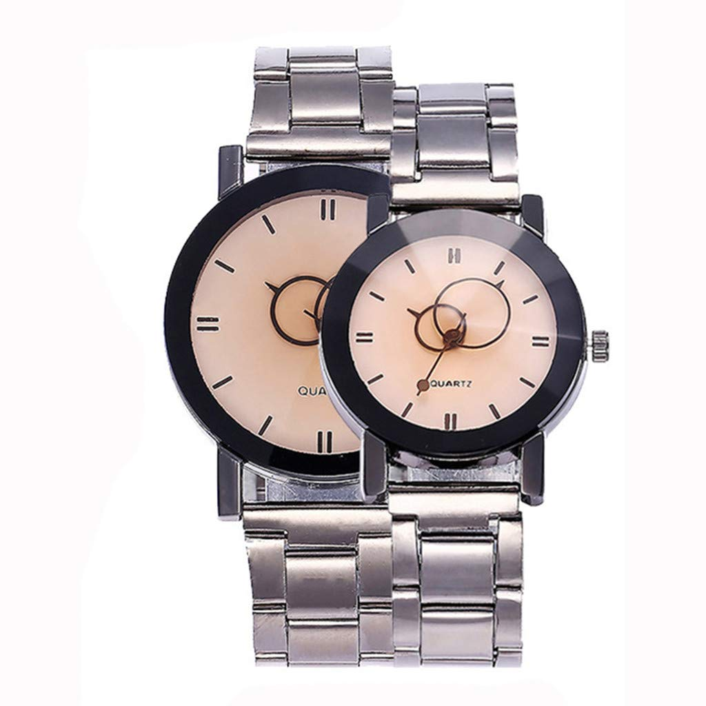 Watches for Girls,1 Pair Couple Stylish Watch Spire Glass Steel Band Quartz Watch(White) by Woaills Watch