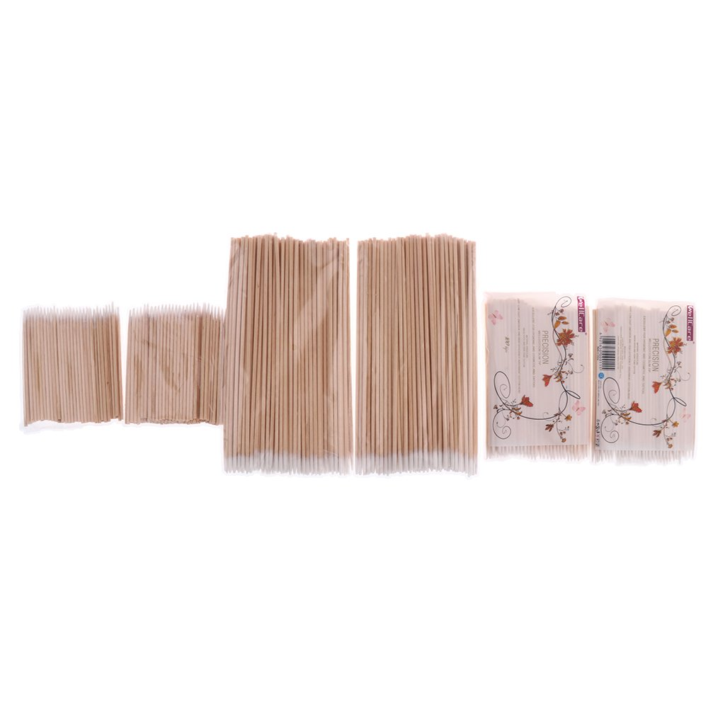 Sharplace Lot 600pcs Coton Tige de Tatouage Maquillage Permanent Microblading Bois Coton Ecouvillon Bourgeon Cosmétique Outil