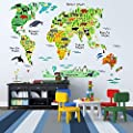 EveShine Animal World Map Peel & Stick Nursery Wall Decals Stickers