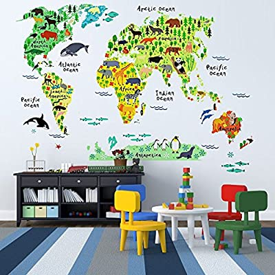 EveShine Animal World Map Peel & Stick Nursery Wall Decals Stickers