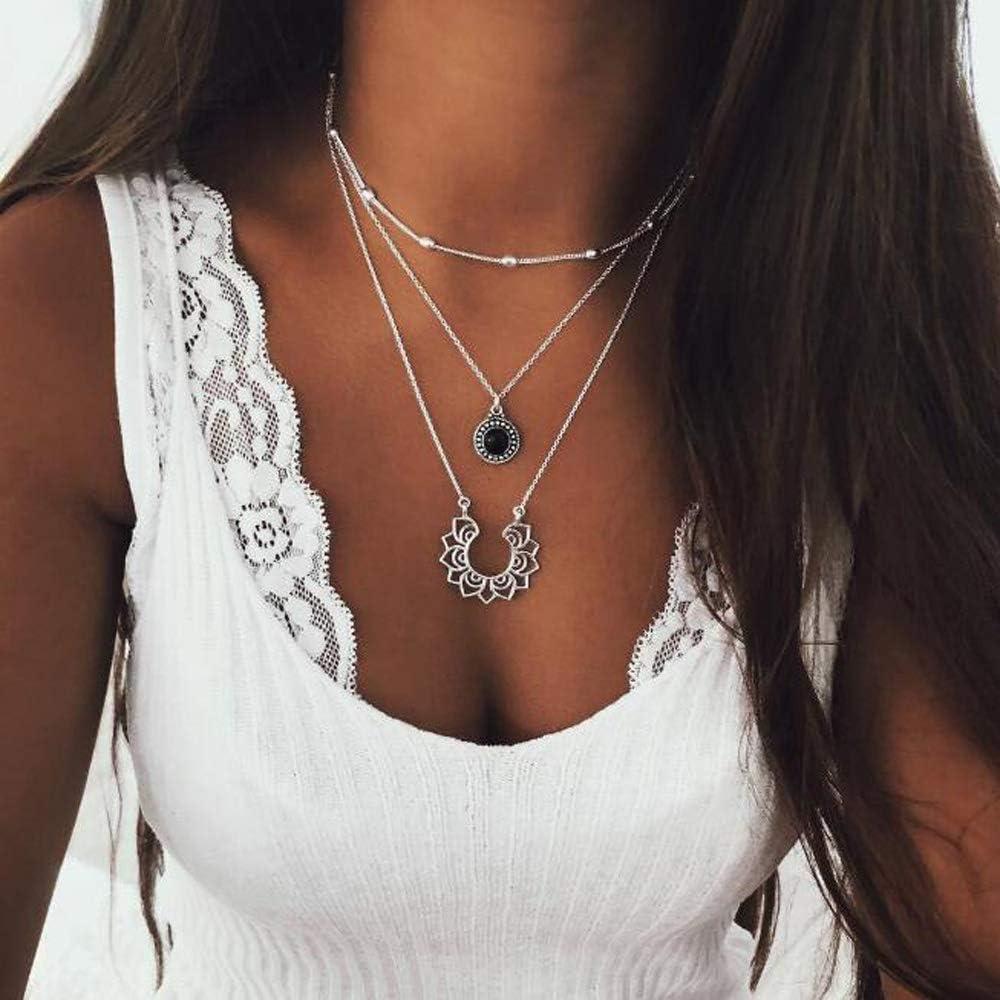 Jovono Collares con colgante de estrás negro multicapa para mujeres y niñas (plata)