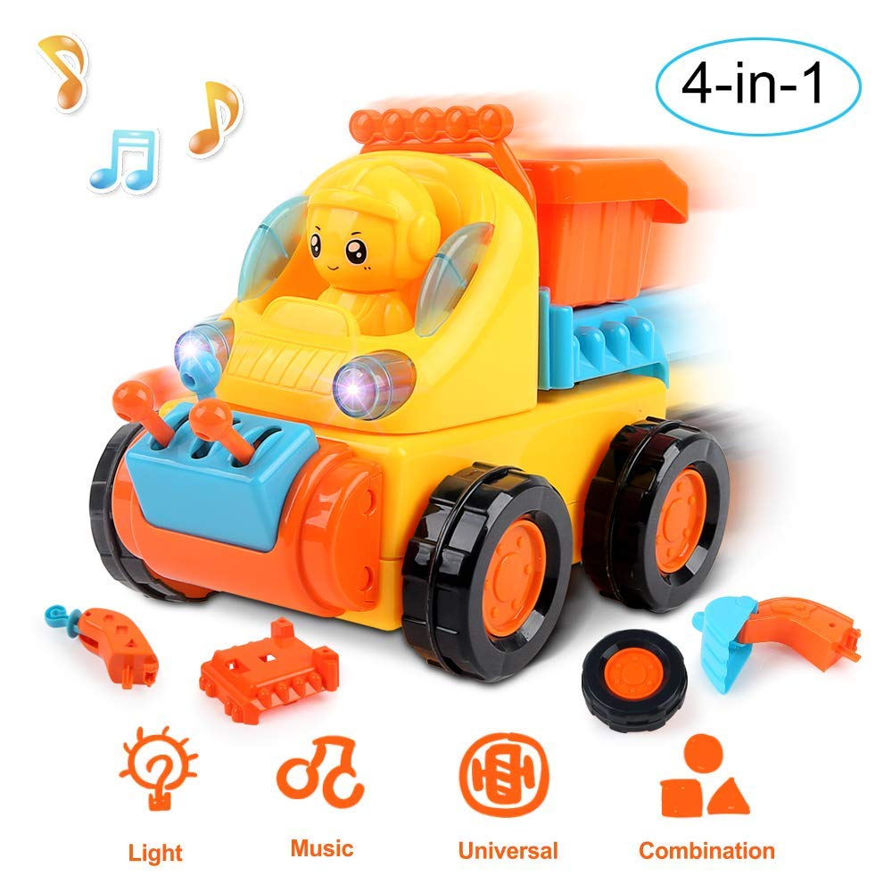 Beebeerun Take Apart Toy Construction Vehicles Kit for Kids Build Your Own Car Kit 4 in 1 Take-A-Part Pieces Universal with Music and Light for 12 3 4 5 6 Year Old Boy Girl Toddler Baby Kid Gift
