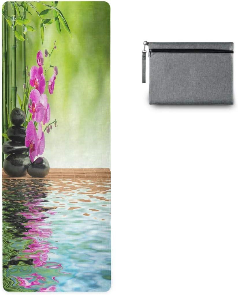 Vinlin - Esterilla de yoga con diseño de flor japonesa y orquídea, antideslizante, para yoga, pilates, estiramiento y fitness: Amazon.es: Deportes y aire libre
