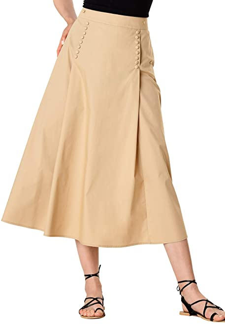 1920s Skirt History eShakti Womens Pleat Button Front Stretch poplin midi Skirt $44.95 AT vintagedancer.com