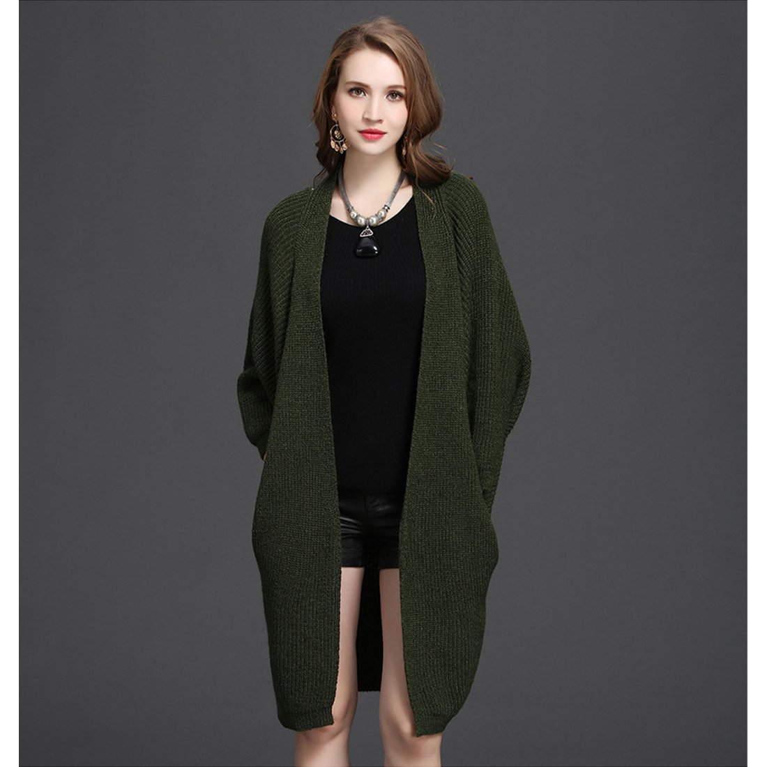 Womens Fashion Long Sleeved Loose Knitted Cardigan Sweater