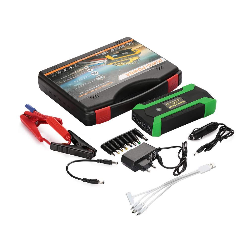 Arrancador de arranque del coche portá til, impermeable 16500Mah 4USB US/EU / UK/AU Enchufe de arranque del coche 4LED Arrancador de baterí a de emergencia con pantalla digital-EU_ Negro naranja ZZH