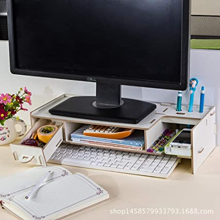 Multifunción Soporte monitor madera Canalización vertical,Tv pc laptop Soporte monitor Universal Madera soporte pantalla Canalización vertical Con organizador del almacenaje Para casa oficina-A: Amazon.es: Hogar