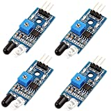 Icstation Infrared IR Obstacle Avoidance Sensor for Arduino Smart Tracking Car Robot Project 2-30cm Detecting Distance Adjutable (Pack of 4)