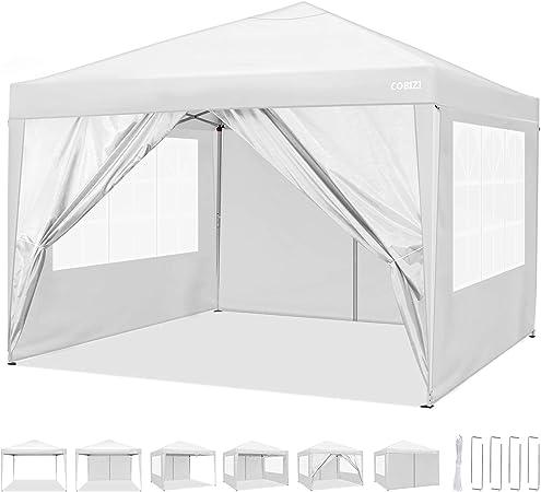 Oferta amazon: COBIZI Carpa de jardín 3x3m Cenador Plegable Gazebo Impermeable con 4 Paredes, Protección UV 50+, Ajustable en Altura, Pabellon de Jardin Plegable Event Shelter para Patio/Camping/Playa/Fiestas