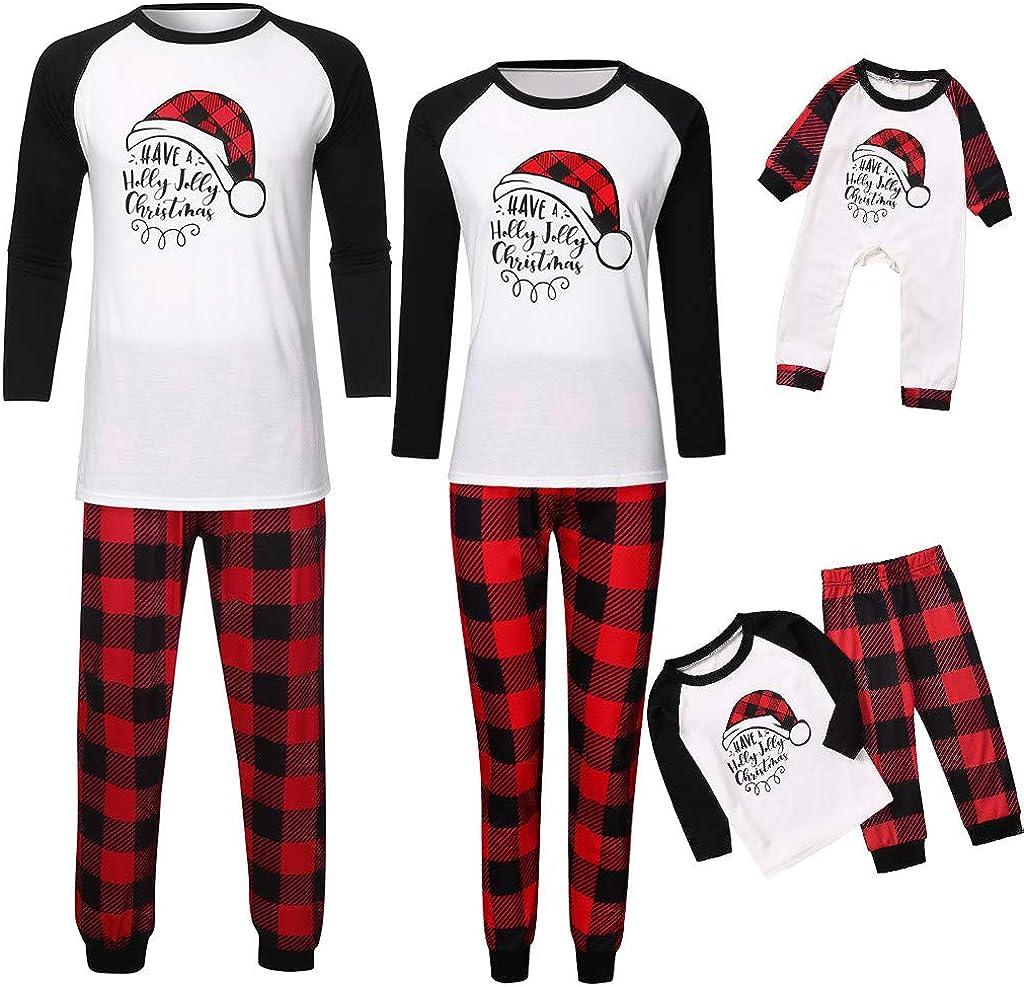Christmas Pjs Family Set Plaid Red 2Pcs Santa Hats Clothes Set Evening Party Pyjamas Outfits Dress Up Nightwear Lounge Wear Mumustar