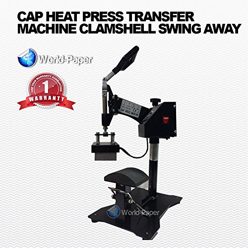 Hat Press Heat Press for Hats Digital LCD Timer Heat Press with Swing Away Top by Calor Press Black Swing