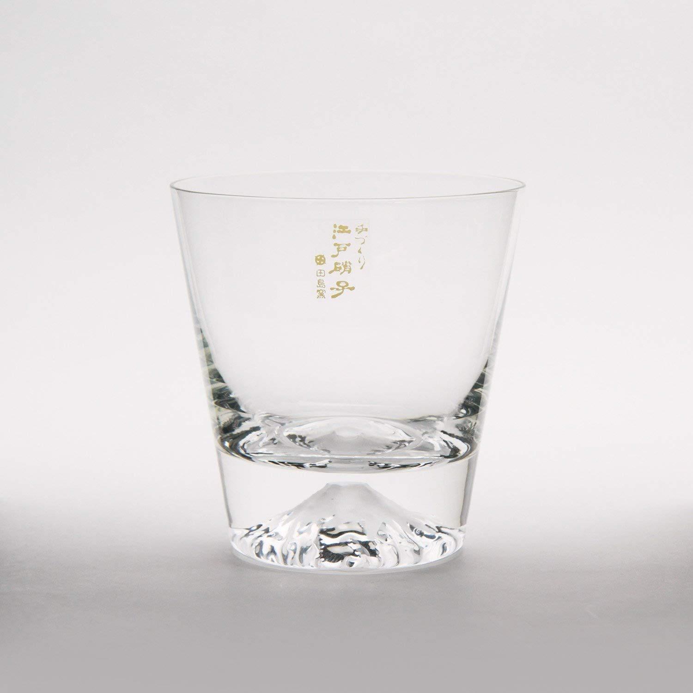 Mars Planning [Premium Gift Set] Tajima Glass Mount Fuji Base Fujisan Glass Set Fuji Glass / Fujisan Hoei Glass (Clear) / With Wooden Coaster by Mars (Image #3)