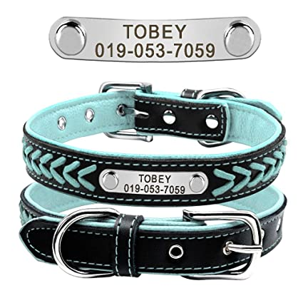 78fc45818e30 Didog Leather Custom Collar,Braided Leather Engraved Dog Collars with Personalized  Nameplate for Small Medium
