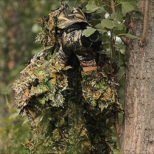Ghillie Suits For Sale (Isafish Ghillie Suits Hunting Camouflage Maple Leaf Hooded 3D Bionic Training Uniform Military Sniper Cloak Camouflage Clothing Hunting Shooting Airsoft Wildlife Photography or Halloween)