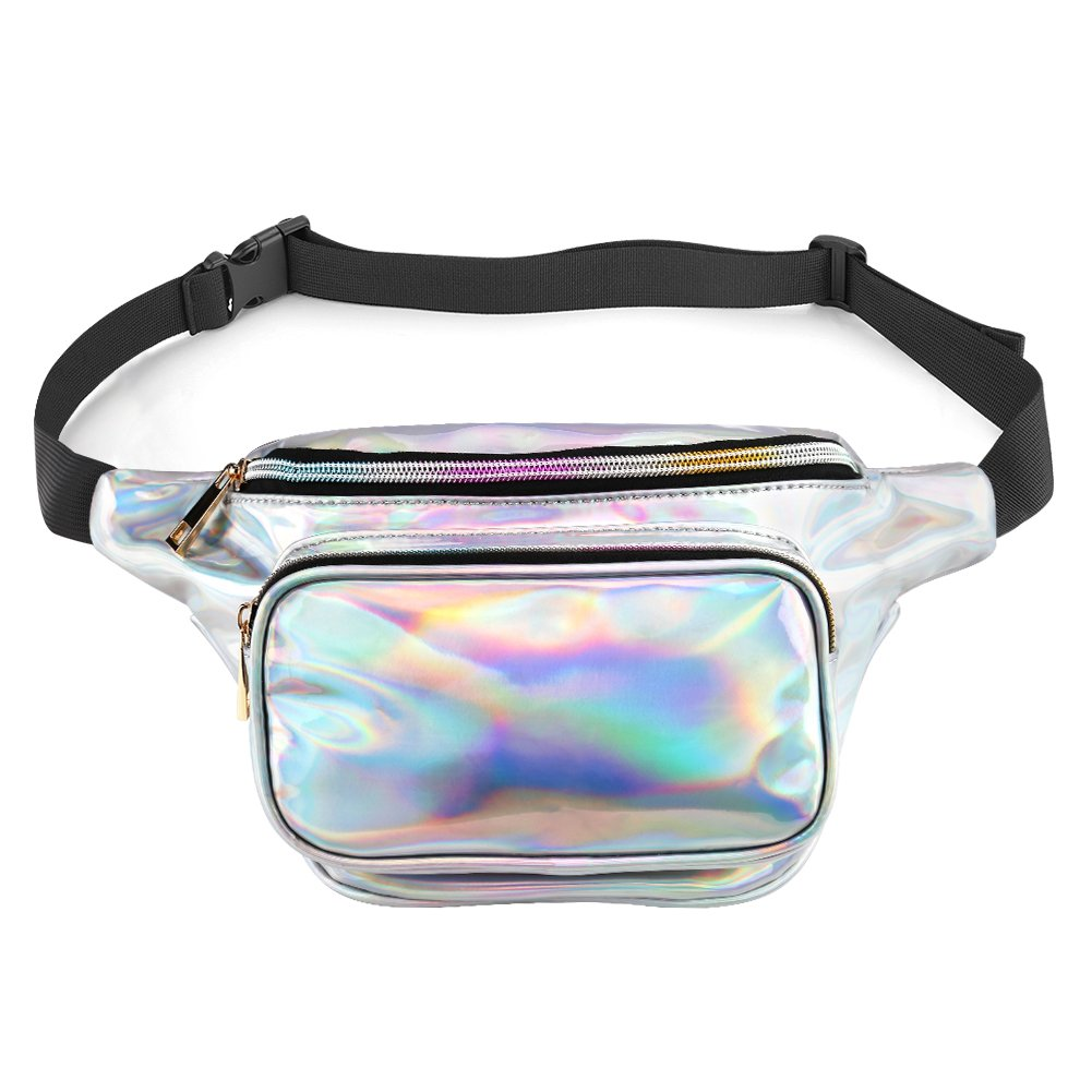 accmor Holographic Fanny Pack Waterproof, Resistant Shiny Neon Fanny Pack for Women Mens, Fashion Waist Bag with Adjustable Belt for Rave Festival Hologram Bum Travel Waist Pack