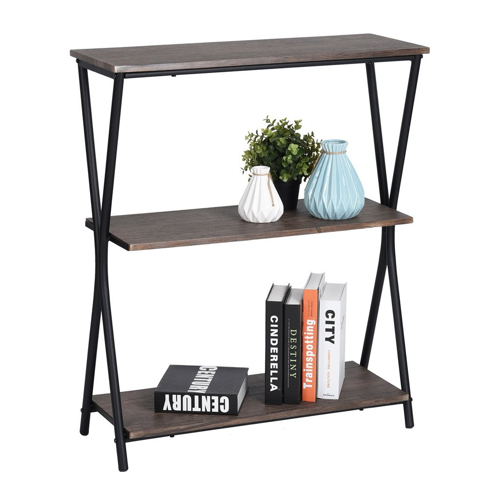HOMY CASA 3Tiers Shelf with Metal Frame, Wooden MDF Bookshelf for Living Room, Entryway