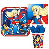 DC Comics Superhero Girl Birthday Party Tableware Bundle Kit Pack, Plastes, Napkins & Cups for 16