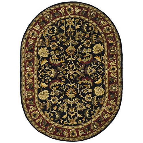 (Safavieh Heritage Collection HG953A Handcrafted Traditional Oriental Black and Red Wool Oval Area Rug (7'6