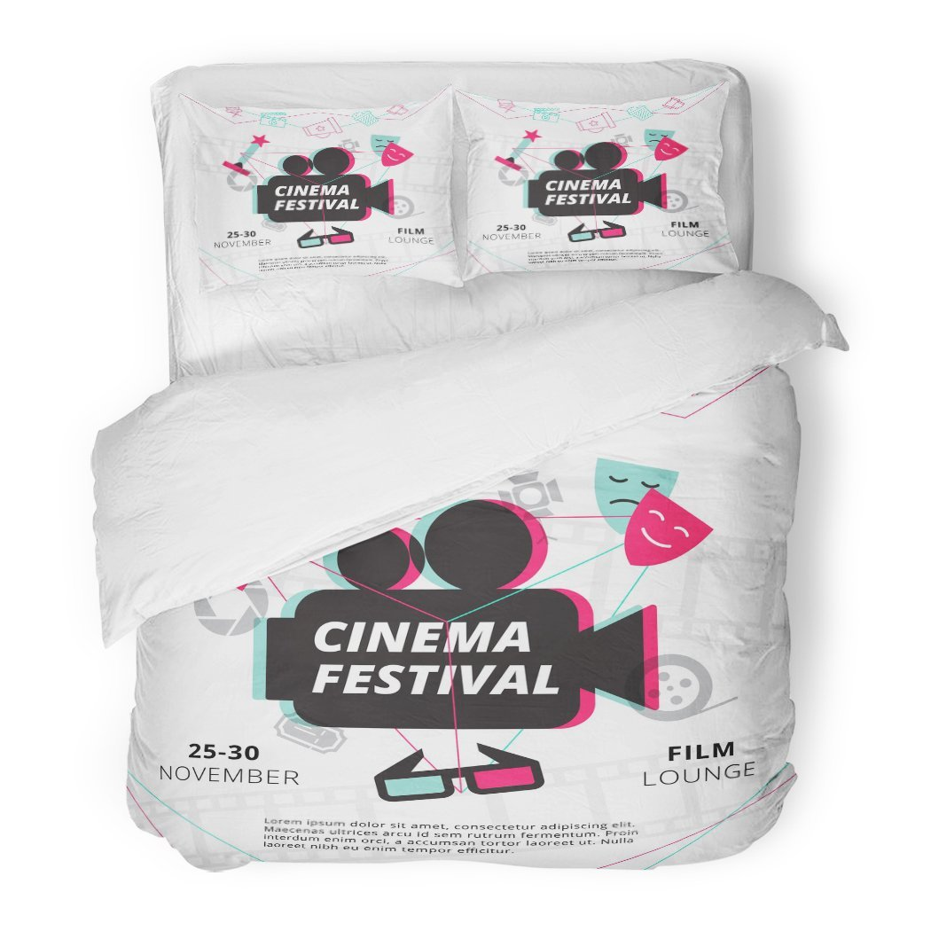 SanChic Duvet Cover Set Movie Cinema Festival with Camcorder Silhouette in Center and Attributes of Film Industry Video Decorative Bedding Set with 2 Pillow Shams Full/Queen Size