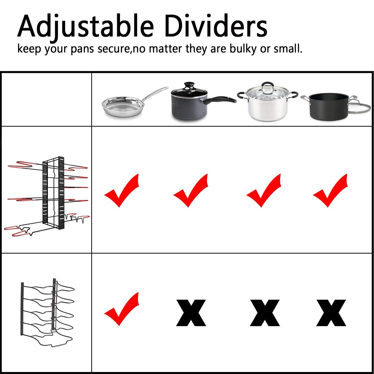 MCIRCO Pot Rack Organizer, 3 DIY Methods, Height and Position are Adjustable 8+ Pots Holder, Black Metal Kitchen Cabinet Pantry Pot Lid Holder by Mcirco (Image #4)