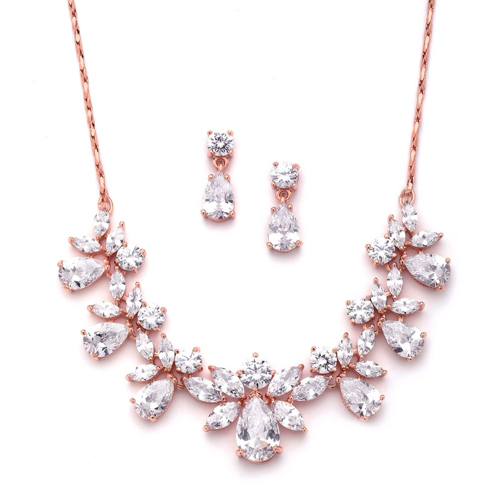 6a6235cf Mariell Rose Gold Multi-Shaped Cubic Zirconia Necklace & Earring Wedding  Jewelry Set for Women and Brides
