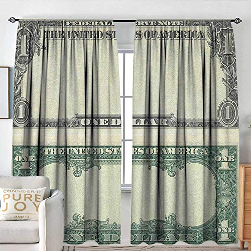 Family Decor Curtains Money,One Dollar Bill Buck Design American Federal Reserve Note Pattern Wealth Symbol, Pale Green Grey,Blackout Draperies for Bedroom Living Room 84