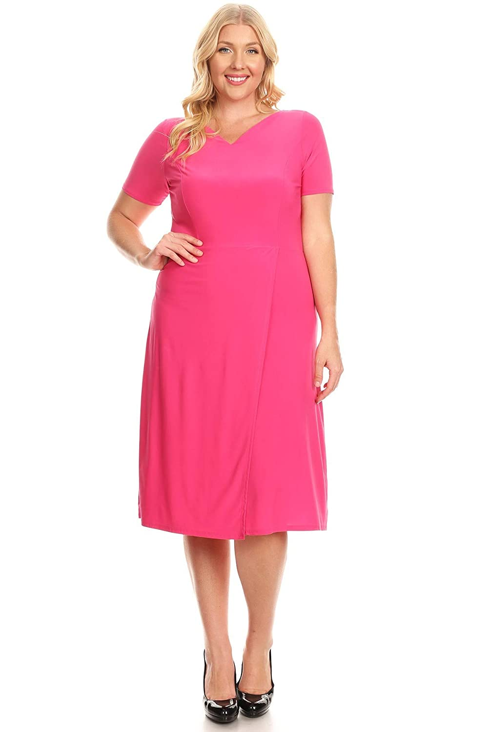 Pastel by Vivienne Womens V-Neck Fit and Flare Midi Plus Dress