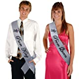 TREORSI Prom King and Prom Queen Satin Sash Prom Sashes School party Graduation Party (Silver sash with Black Lettering)