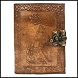 Leather Journal Notebook Brown Wolf Embossed Charcoal Color Writing Handbook Handmade Diary Appointment Organizer Daily Planner Notepad Travel Diary Sketchbook 5 x 7 inches for Men and Women