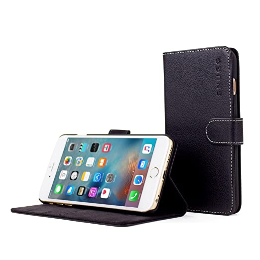 22 opinioni per Custodia per iPhone 6s Plus, Snugg™- Custodia Nera a Libretto in Ecopelle con