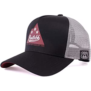 ROUTE66 MESH CAP ルート66 メッシュキャップ 帽子 メンズ レディース ストリート アメカジ 春夏 オールシーズン 海 山 フェス キャンプ アウトドア かわいい ロゴ Tシャツ サングラス SNS プチ おしゃれ バイク バイカー キャップ (18401-BLK/BLK)