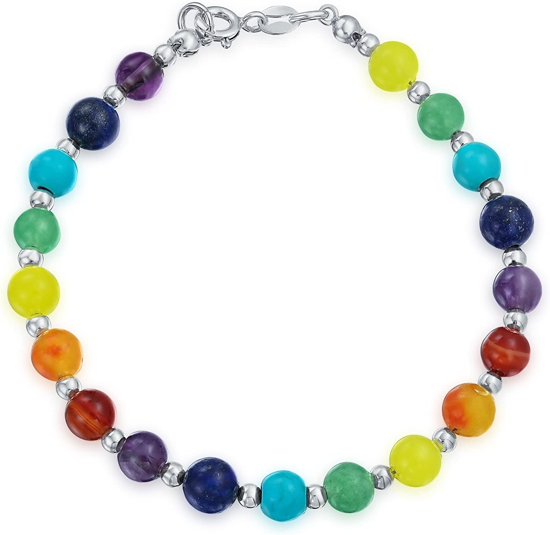 Bling Jewelry Colorido Multicolor Charka Piedras Preciosa Beads para La Mujer Adolescente Plata Esterlina 925 Mosquetón