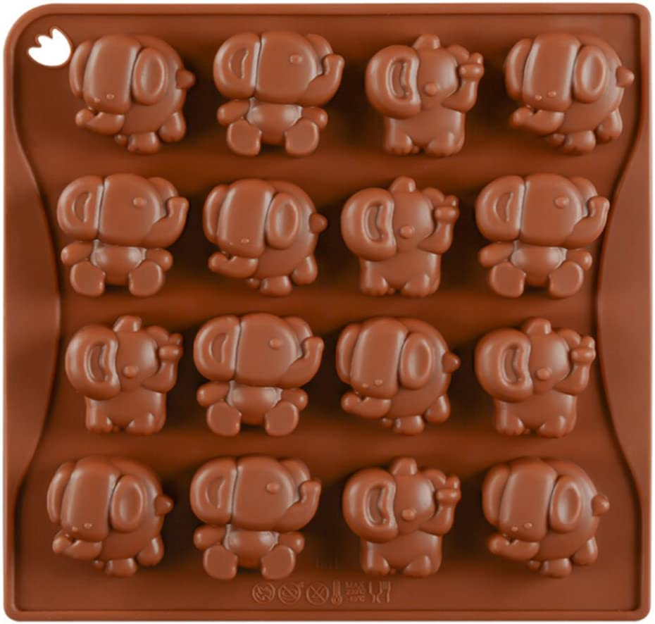 16 Cavity Elephant Candy Mold Trays, Silicone Baking Pan - Food Grade & BPA Free - Not Sticky Cake Decoration Mould For Mousse,Chocolate Brownie,Jelly,Ice Cream,Chiffon,Cheesecake,Fondant