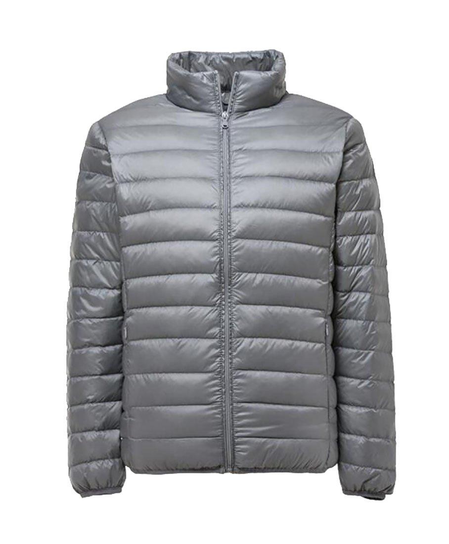 Pandapang Men's Lightweight Plus Size Zip-Up Puffer Down Jacket Parka Coat Silvery 3X-Large