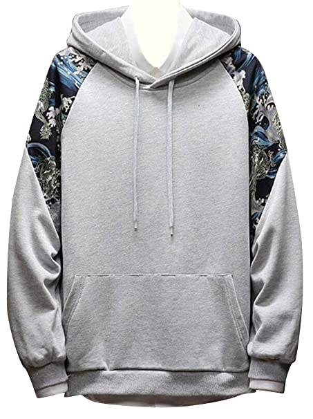 965173b15 BYWX Men Casual Splicing Floral Print Chinese Style Color Blocked Pullover  Hoodie Sweatshirt at Amazon Men's Clothing store:
