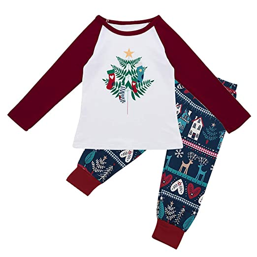 8631281694233 DIGOOD Teen Toddler Baby Boys Girls Christmas Clothes,Cartoon Santa Tree  T-Shirt+