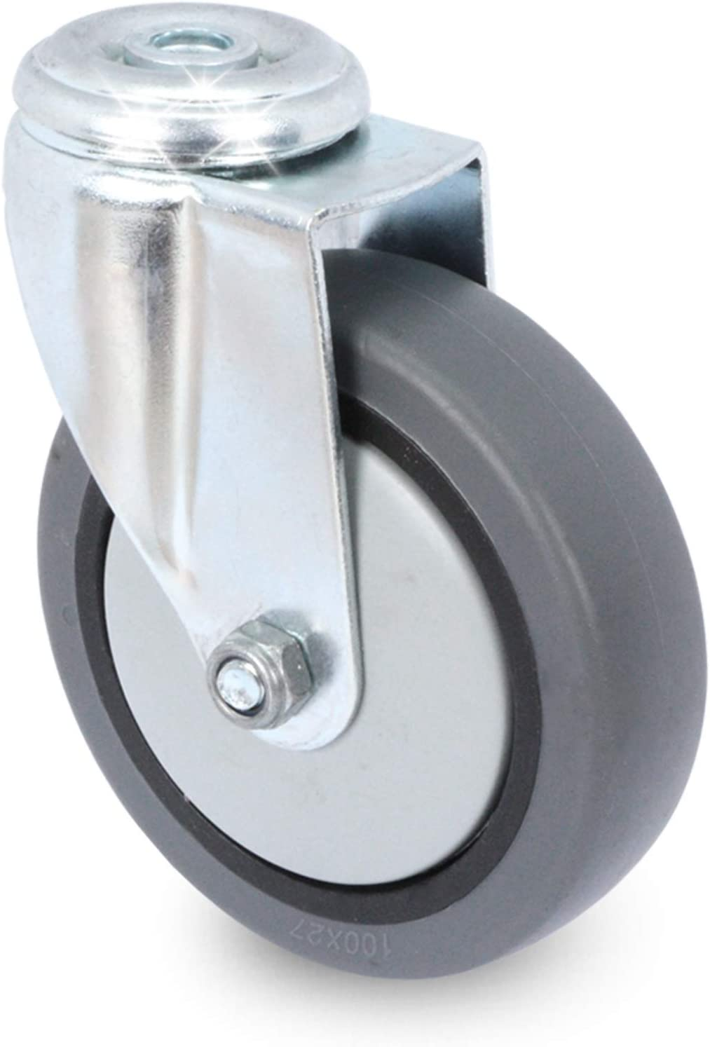 Lenkrolle mit Bremse 75 mm Apparaterolle mit R/ückenloch//Transportrolle//Laufrolle von PRIOstahl
